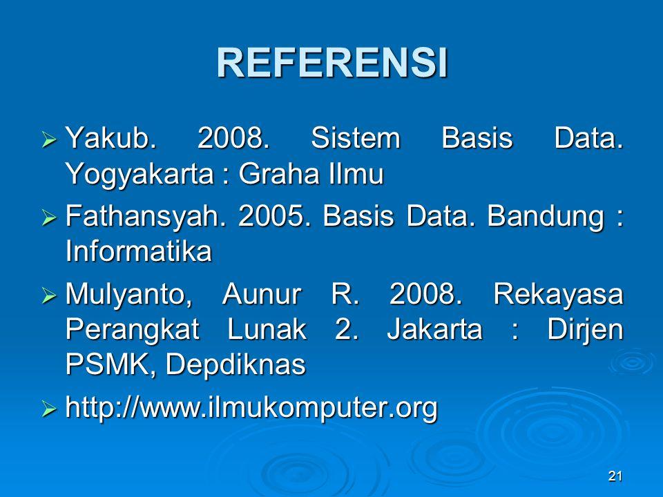 REFERENSI Yakub. 2008. Sistem Basis Data. Yogyakarta : Graha Ilmu