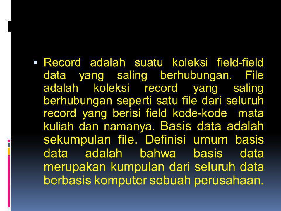Record adalah suatu koleksi field-field data yang saling berhubungan