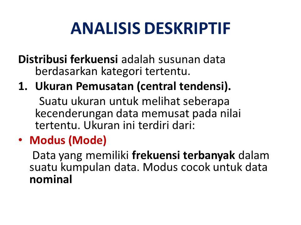 ANALISIS DESKRIPTIF Distribusi ferkuensi adalah susunan data berdasarkan kategori tertentu. Ukuran Pemusatan (central tendensi).