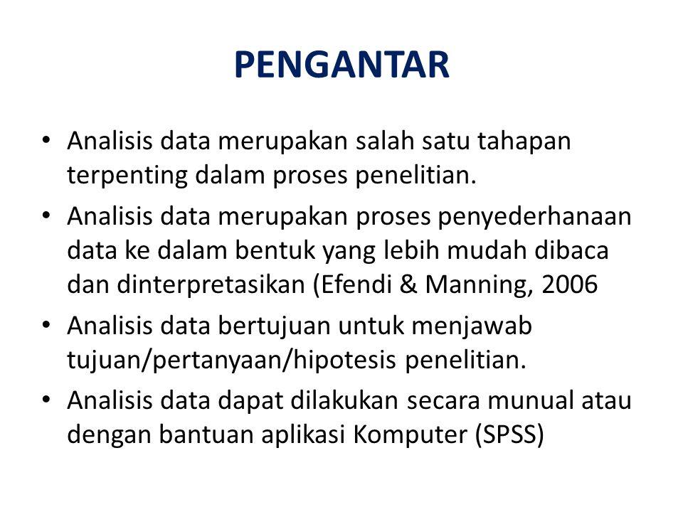 PENGANTAR Analisis data merupakan salah satu tahapan terpenting dalam proses penelitian.