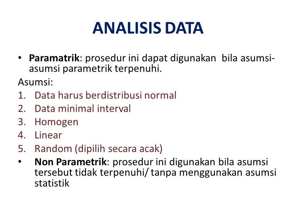 ANALISIS DATA Paramatrik: prosedur ini dapat digunakan bila asumsi-asumsi parametrik terpenuhi. Asumsi: