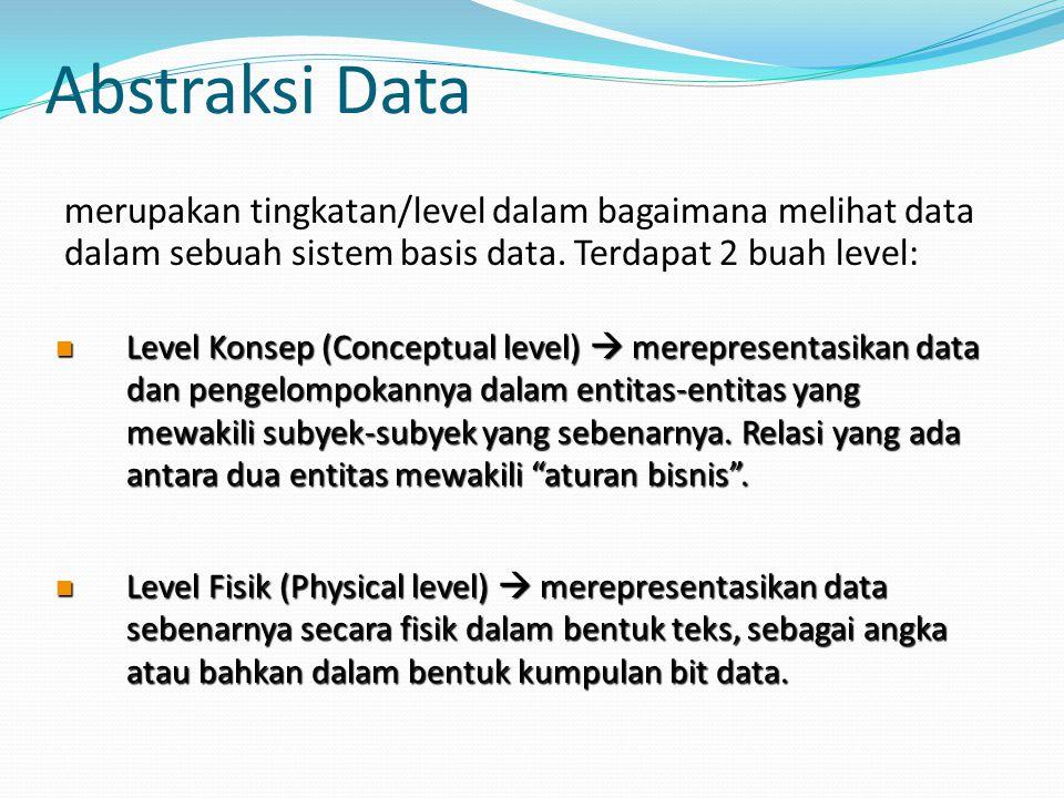 Abstraksi Data merupakan tingkatan/level dalam bagaimana melihat data dalam sebuah sistem basis data. Terdapat 2 buah level: