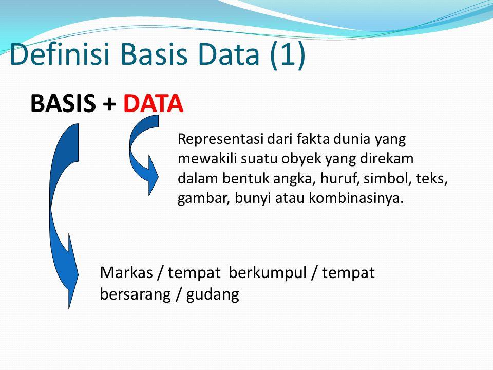 Definisi Basis Data (1) BASIS + DATA