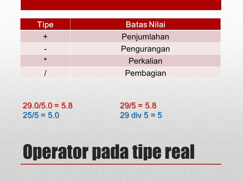 Operator pada tipe real