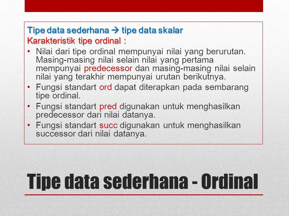Tipe data sederhana - Ordinal