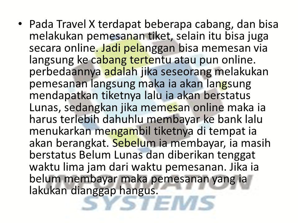 Pada Travel X terdapat beberapa cabang, dan bisa melakukan pemesanan tiket, selain itu bisa juga secara online.