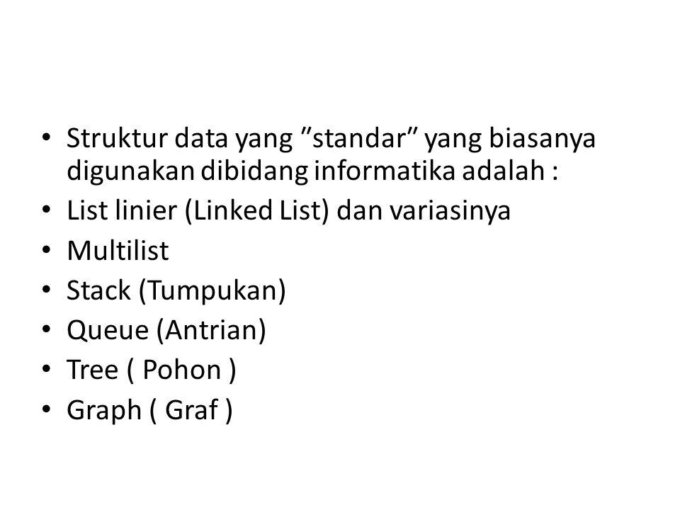Struktur data yang ″standar″ yang biasanya digunakan dibidang informatika adalah :