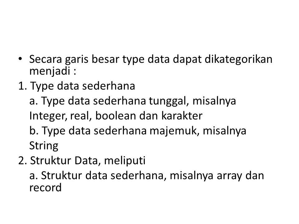 Secara garis besar type data dapat dikategorikan menjadi :