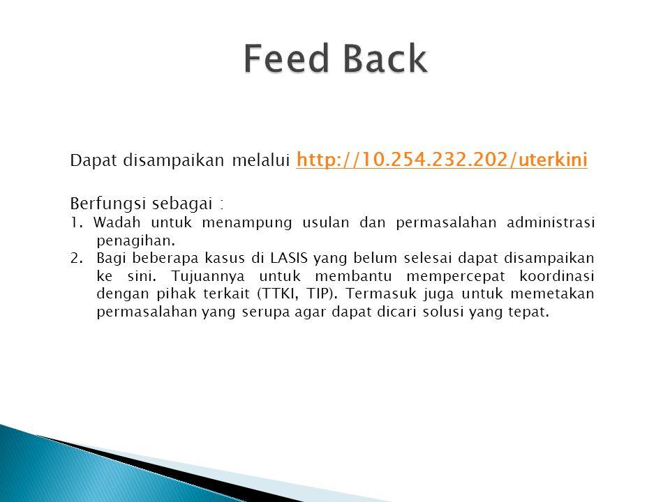 Feed Back Dapat disampaikan melalui http://10.254.232.202/uterkini