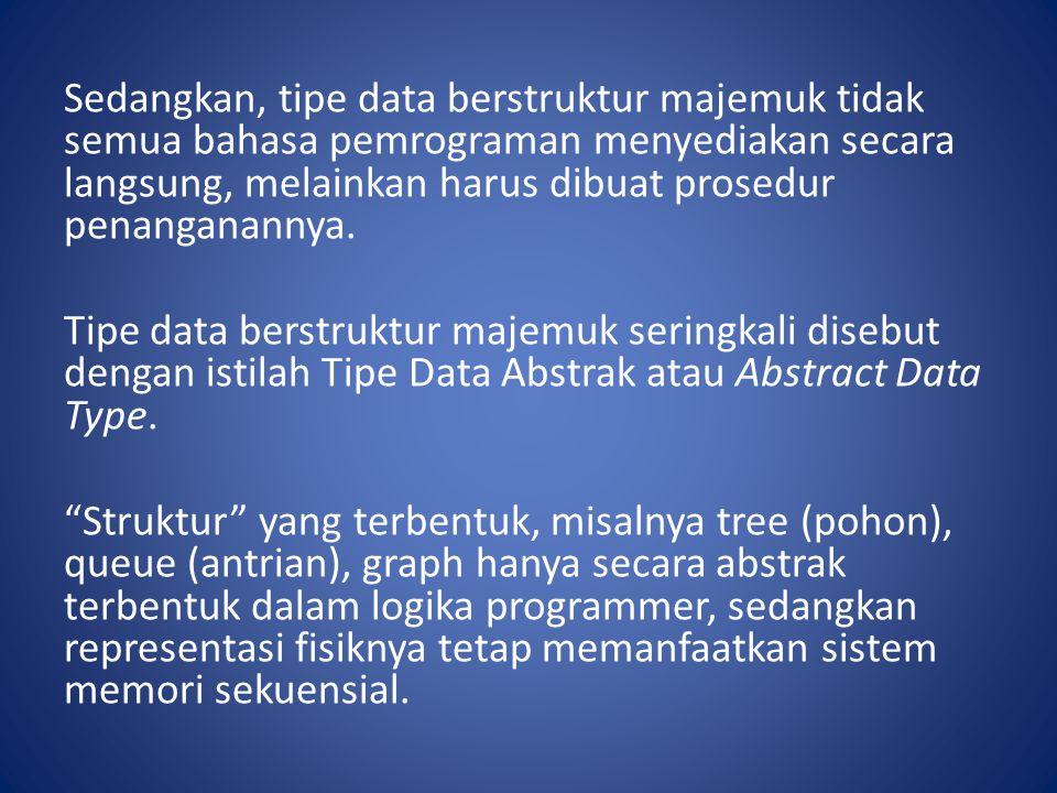 Sedangkan, tipe data berstruktur majemuk tidak semua bahasa pemrograman menyediakan secara langsung, melainkan harus dibuat prosedur penanganannya.