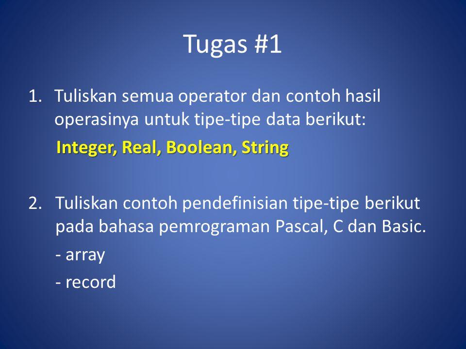 Tugas #1 Tuliskan semua operator dan contoh hasil operasinya untuk tipe-tipe data berikut: Integer, Real, Boolean, String.