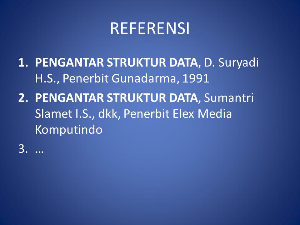 REFERENSI PENGANTAR STRUKTUR DATA, D. Suryadi H.S., Penerbit Gunadarma, 1991.