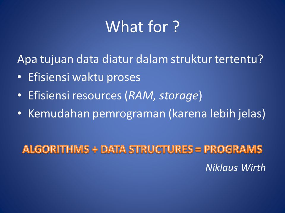 ALGORITHMS + DATA STRUCTURES = PROGRAMS