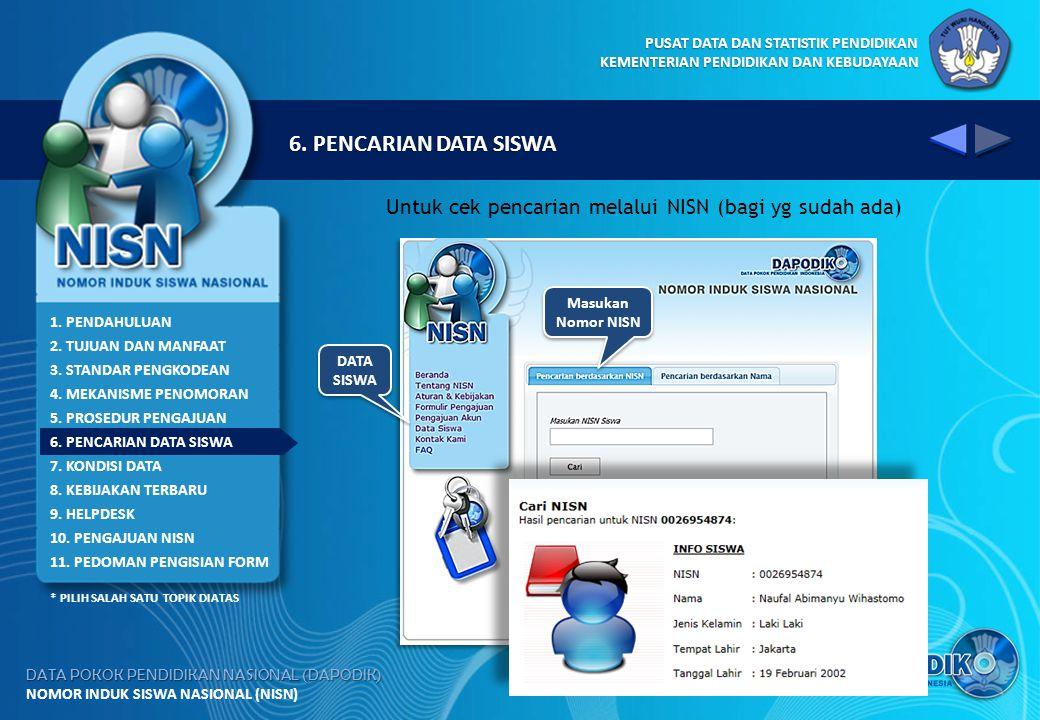 6. PENCARIAN DATA SISWA Untuk cek pencarian melalui NISN (bagi yg sudah ada) Masukan. Nomor NISN.