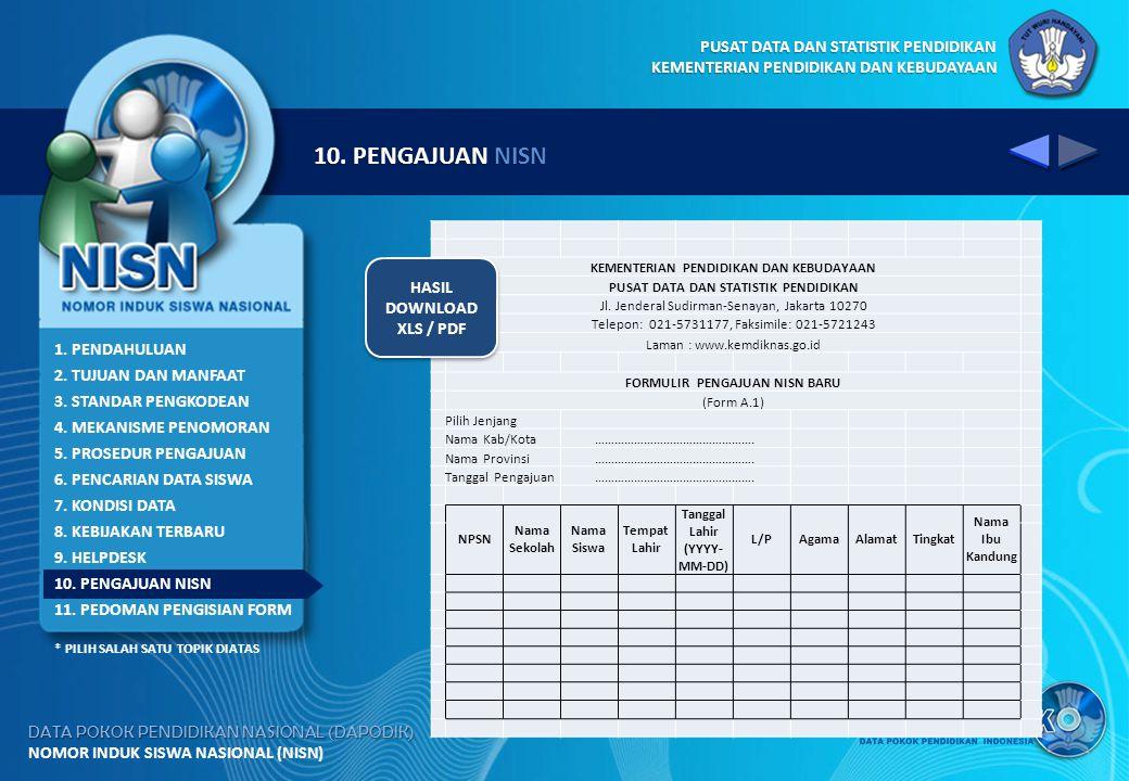 10. PENGAJUAN NISN HASIL DOWNLOAD XLS / PDF 1. PENDAHULUAN