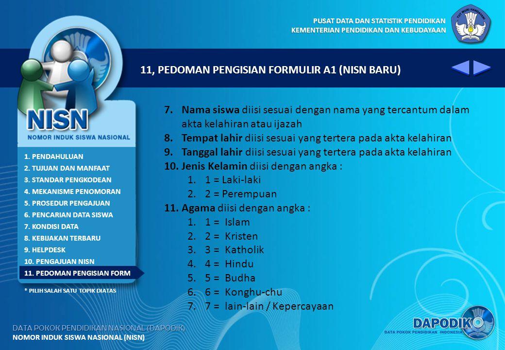 11, PEDOMAN PENGISIAN FORMULIR A1 (NISN BARU)