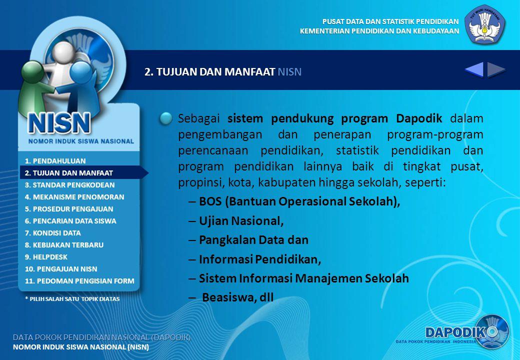 BOS (Bantuan Operasional Sekolah), Ujian Nasional, Pangkalan Data dan
