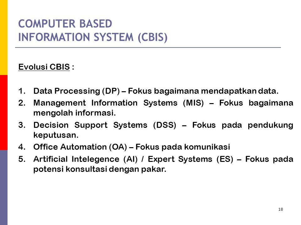 COMPUTER BASED INFORMATION SYSTEM (CBIS)