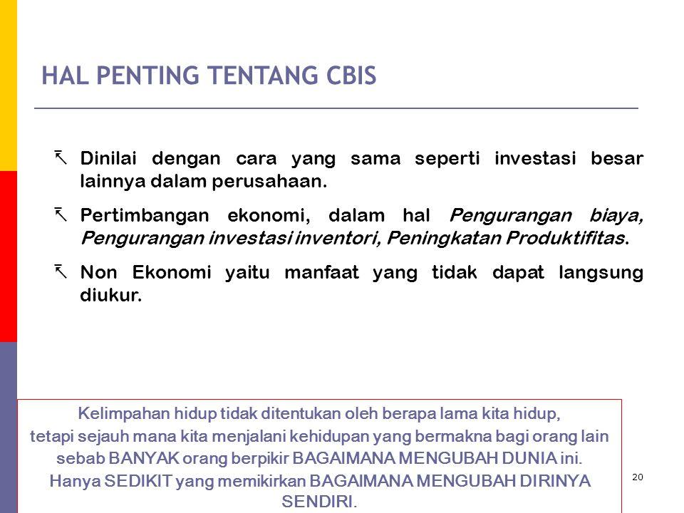 HAL PENTING TENTANG CBIS
