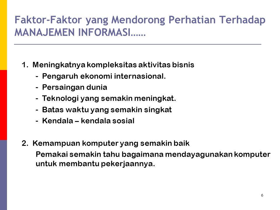 Faktor-Faktor yang Mendorong Perhatian Terhadap MANAJEMEN INFORMASI……