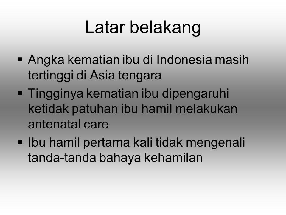 Latar belakang Angka kematian ibu di Indonesia masih tertinggi di Asia tengara.