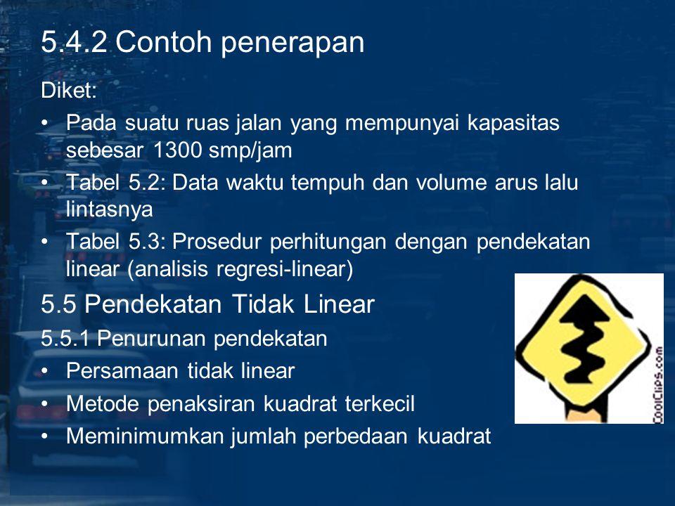 5.4.2 Contoh penerapan 5.5 Pendekatan Tidak Linear Diket: