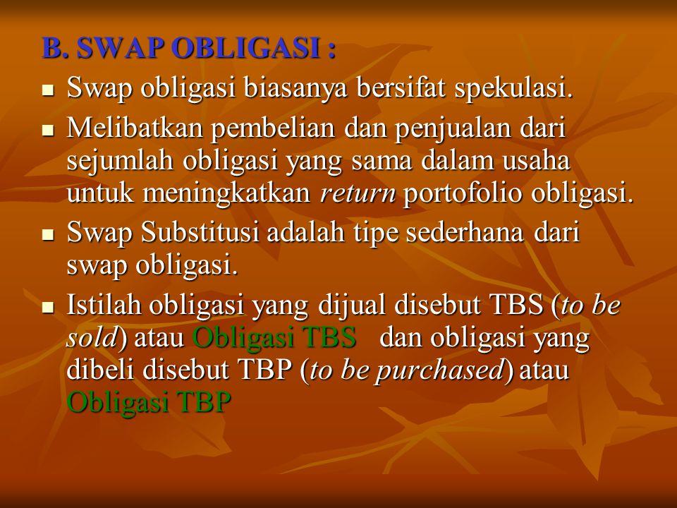 B. SWAP OBLIGASI : Swap obligasi biasanya bersifat spekulasi.