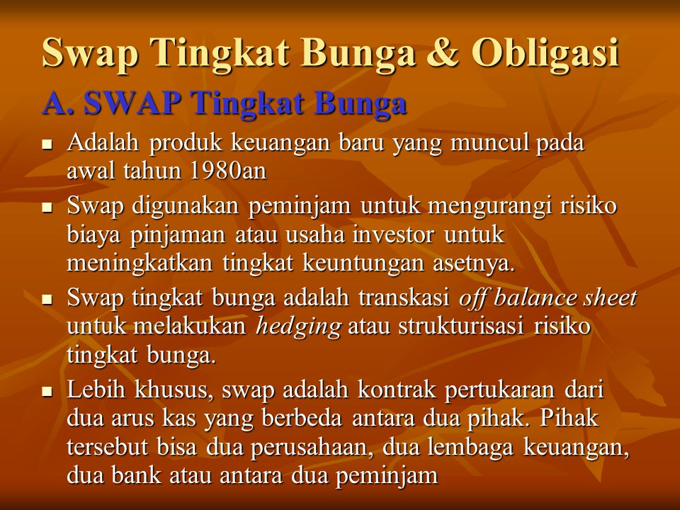Swap Tingkat Bunga & Obligasi
