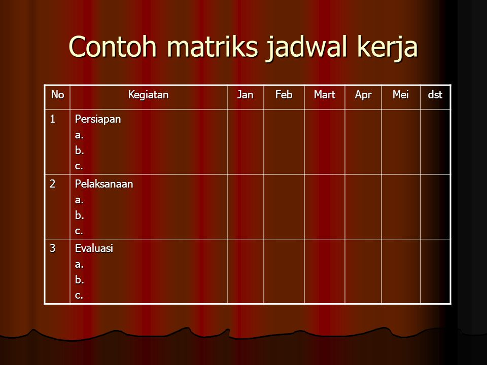 Contoh matriks jadwal kerja