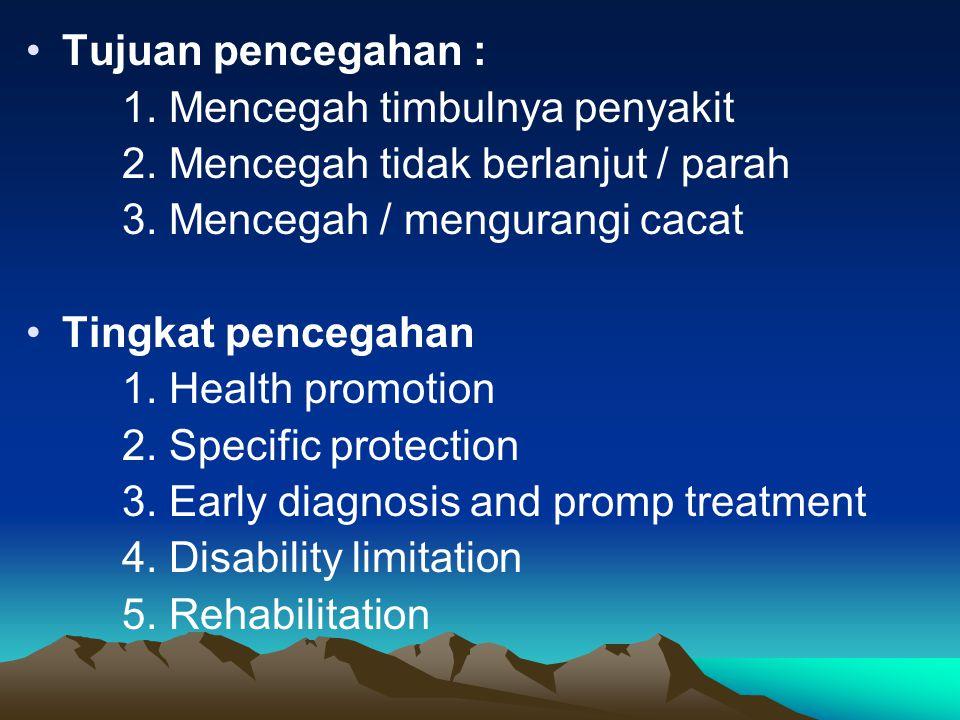 Tujuan pencegahan : 1. Mencegah timbulnya penyakit. 2. Mencegah tidak berlanjut / parah. 3. Mencegah / mengurangi cacat.