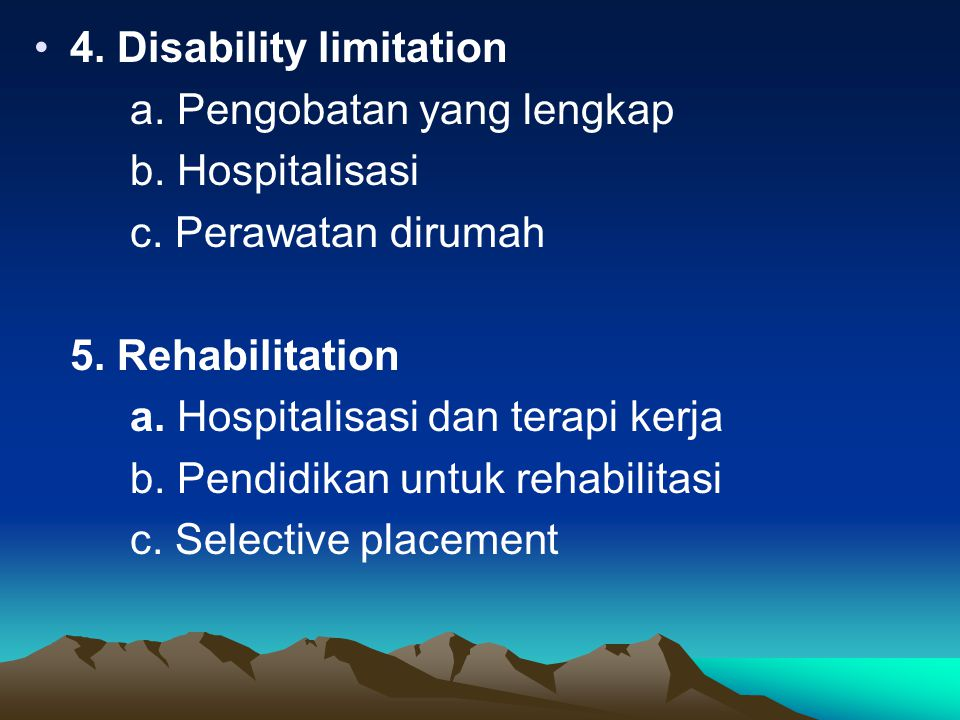 4. Disability limitation