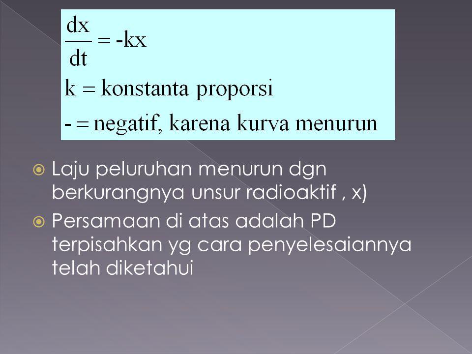 Laju peluruhan menurun dgn berkurangnya unsur radioaktif , x)
