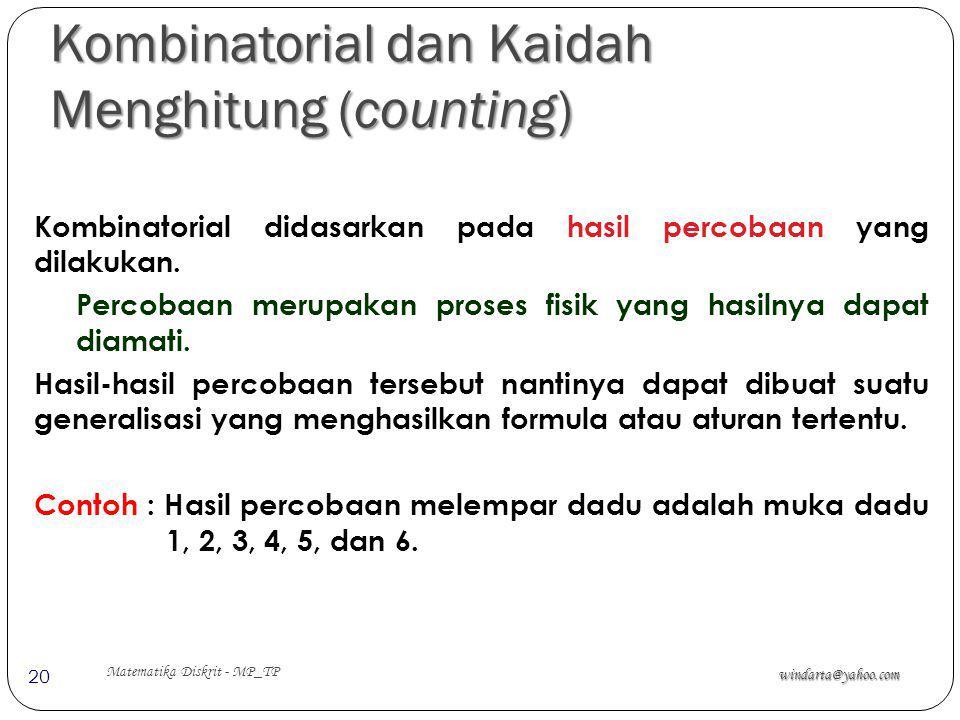 Kombinatorial dan Kaidah Menghitung (counting)