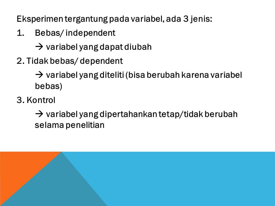Eksperimen tergantung pada variabel, ada 3 jenis: