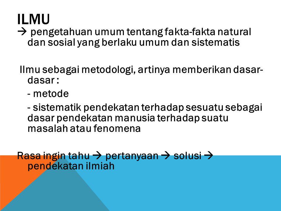 ILMU  pengetahuan umum tentang fakta-fakta natural dan sosial yang berlaku umum dan sistematis.