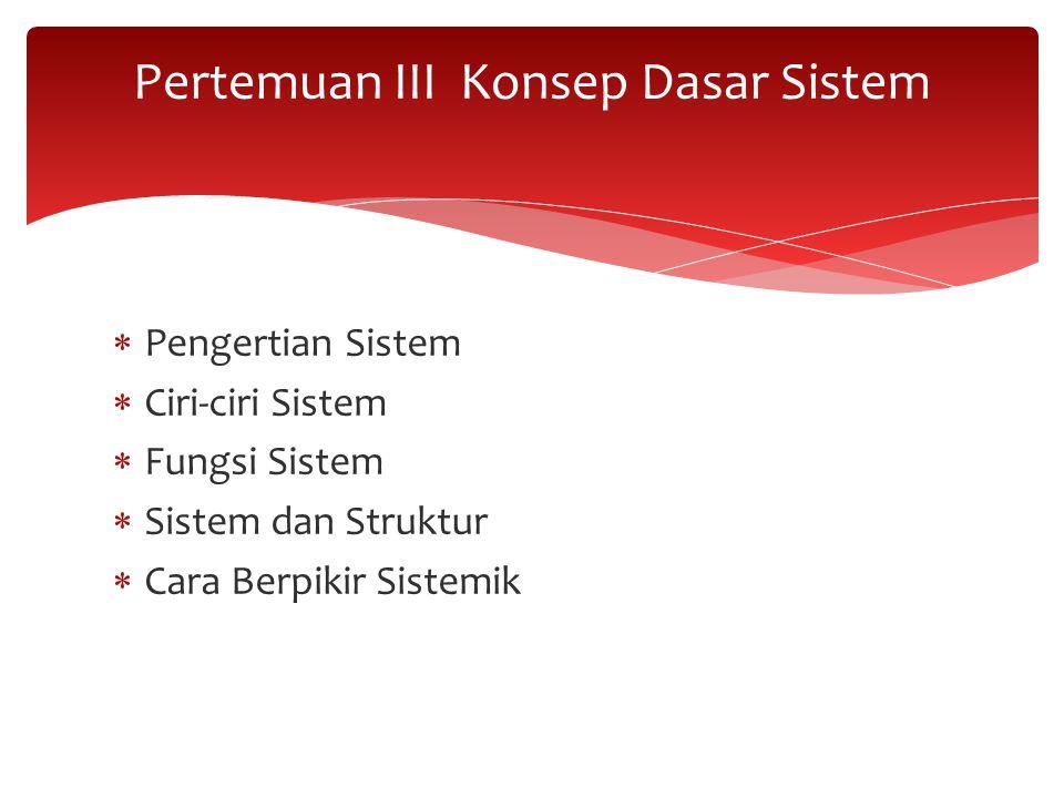 Pertemuan III Konsep Dasar Sistem