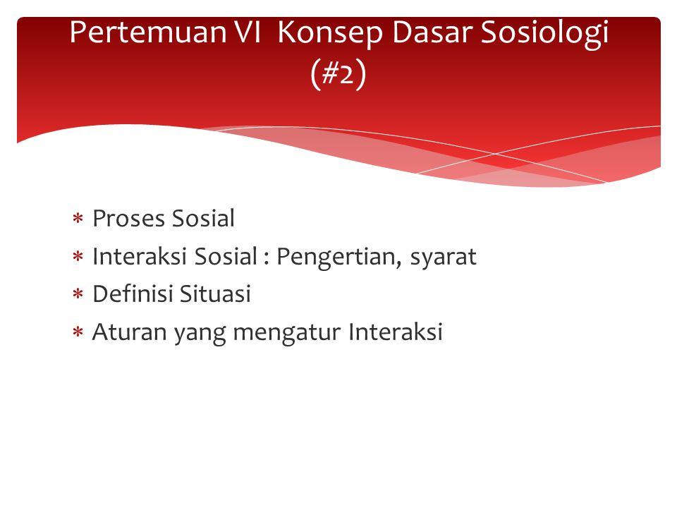 Pertemuan VI Konsep Dasar Sosiologi (#2)