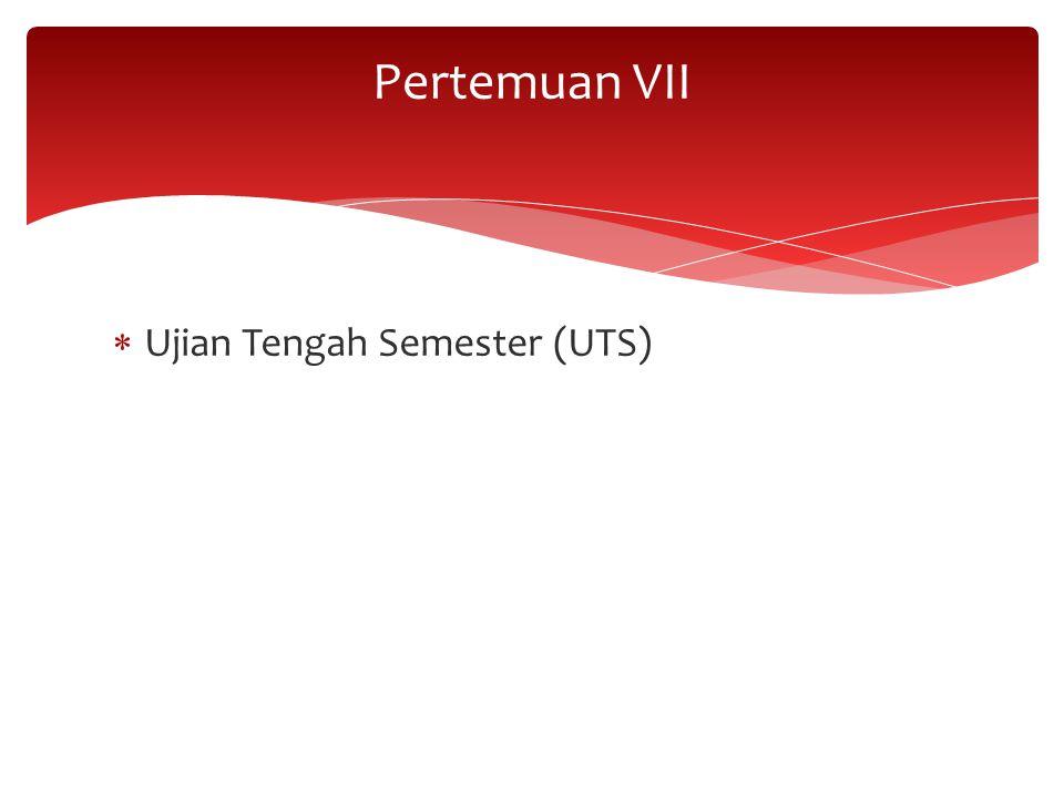 Pertemuan VII Ujian Tengah Semester (UTS)
