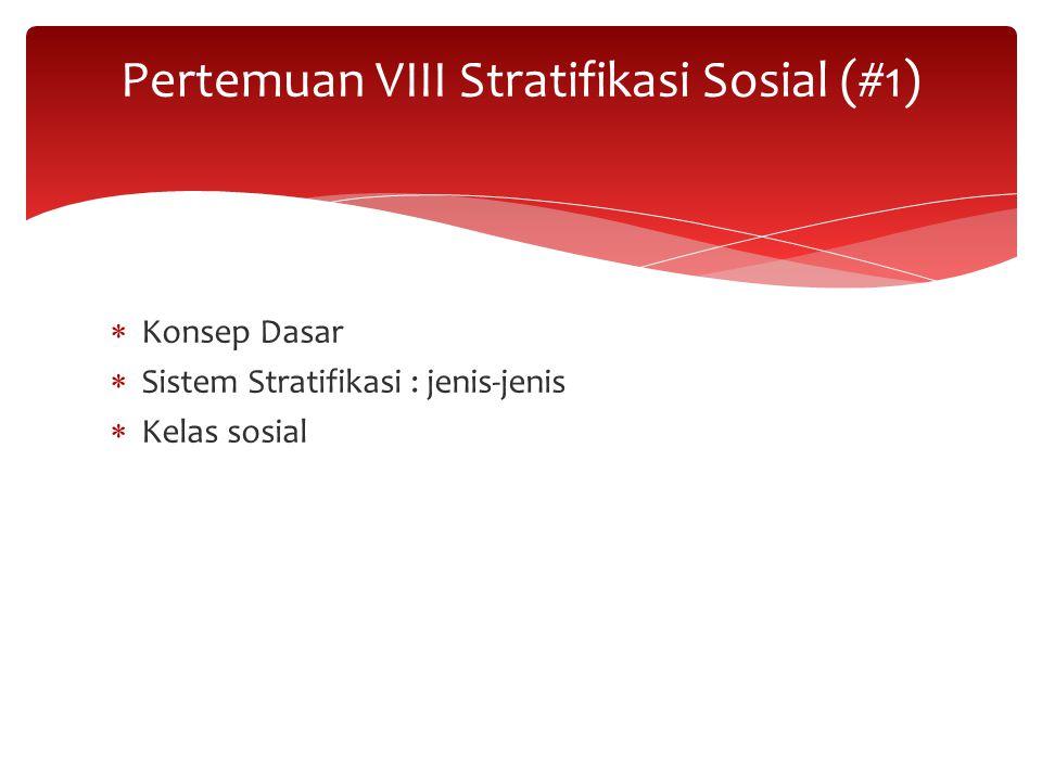 Pertemuan VIII Stratifikasi Sosial (#1)