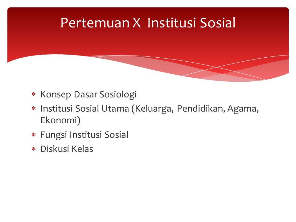 Pertemuan X Institusi Sosial