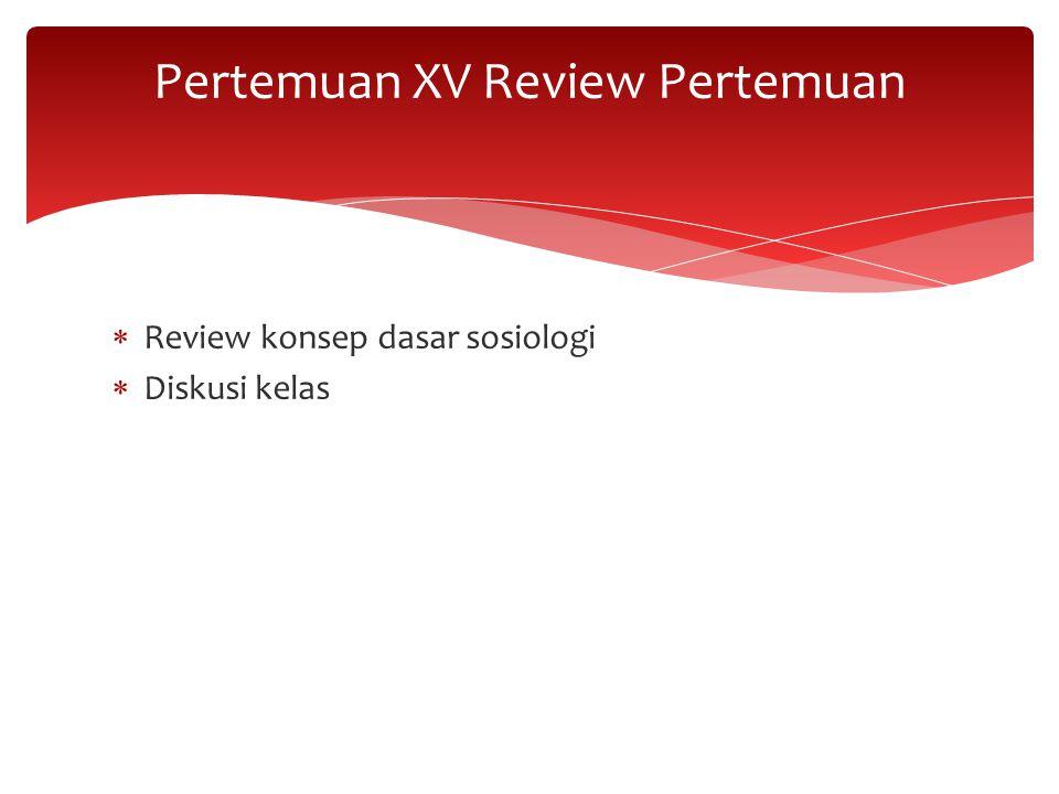 Pertemuan XV Review Pertemuan