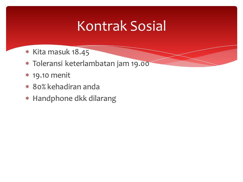 Kontrak Sosial Kita masuk 18.45 Toleransi keterlambatan jam 19.00