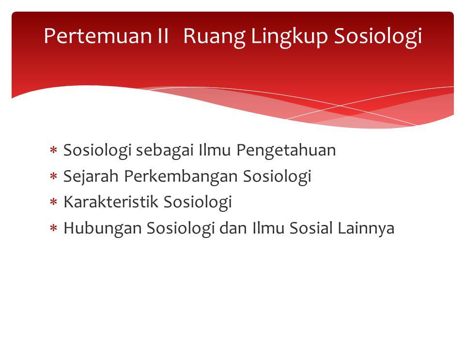 Pertemuan II Ruang Lingkup Sosiologi