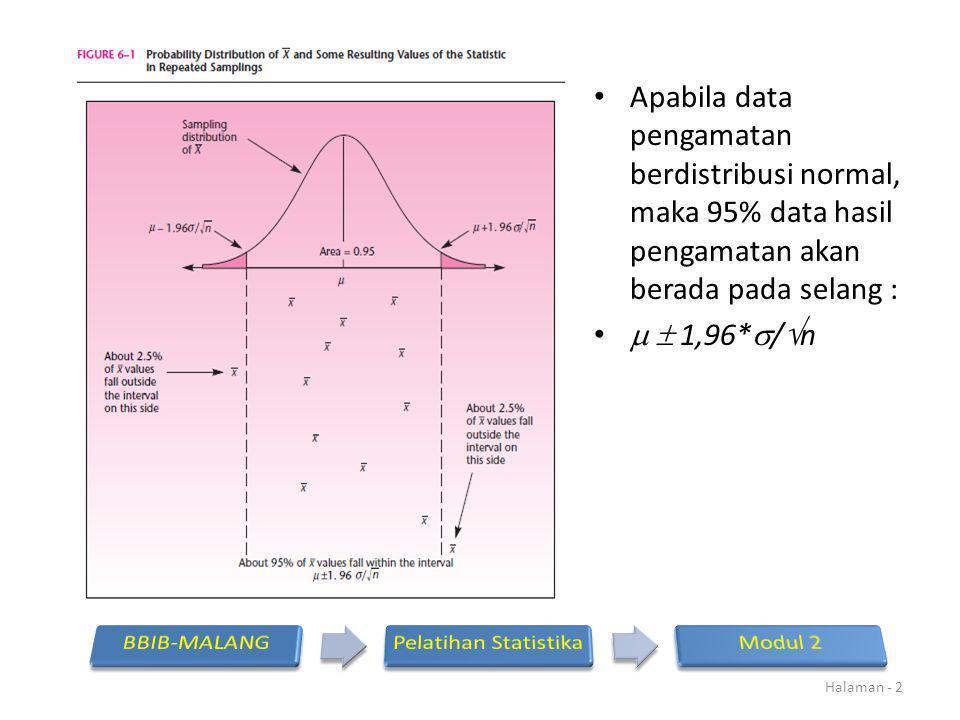 Apabila data pengamatan berdistribusi normal, maka 95% data hasil pengamatan akan berada pada selang :