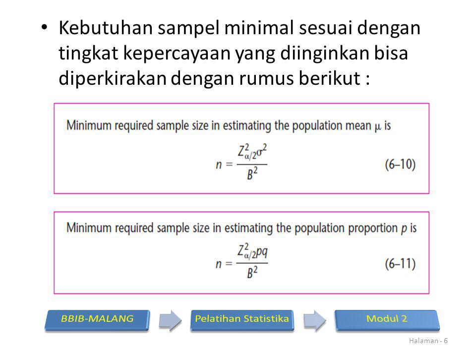 Kebutuhan sampel minimal sesuai dengan tingkat kepercayaan yang diinginkan bisa diperkirakan dengan rumus berikut :