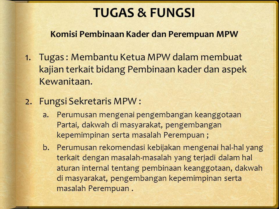 TUGAS & FUNGSI Komisi Pembinaan Kader dan Perempuan MPW