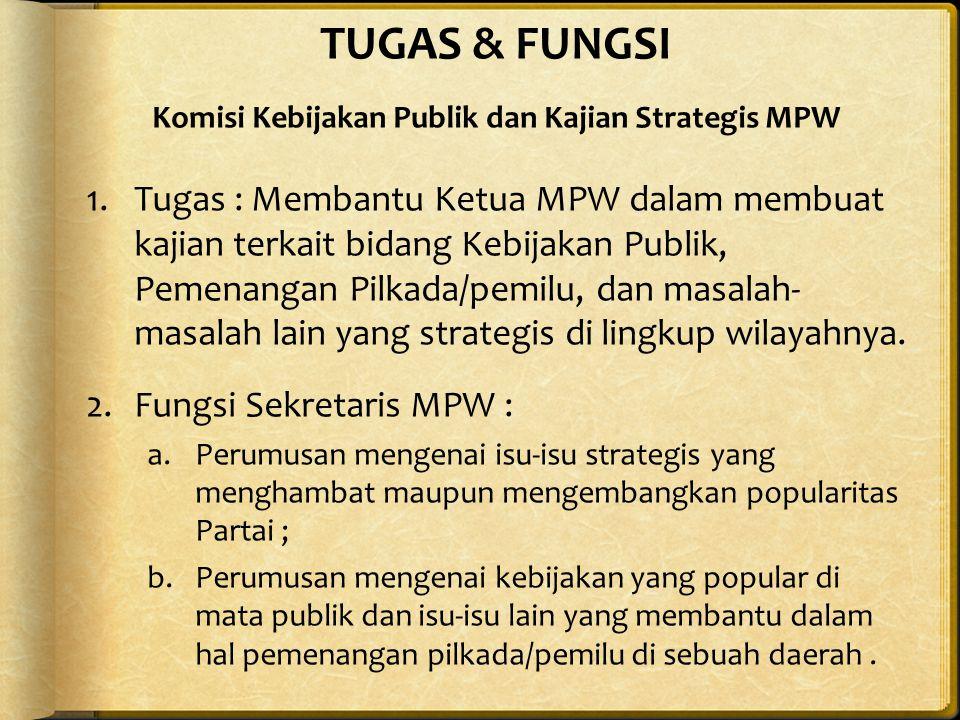 TUGAS & FUNGSI Komisi Kebijakan Publik dan Kajian Strategis MPW