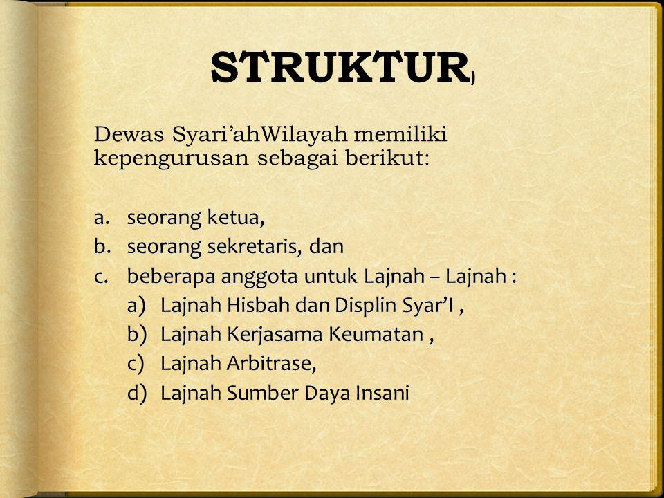 STRUKTUR) Dewas Syari'ahWilayah memiliki kepengurusan sebagai berikut: