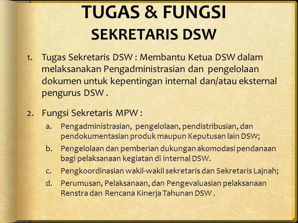 TUGAS & FUNGSI SEKRETARIS DSW