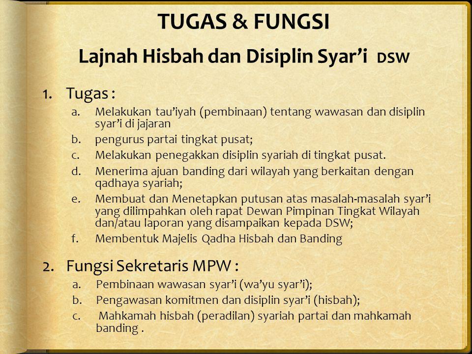 TUGAS & FUNGSI Lajnah Hisbah dan Disiplin Syar'i DSW